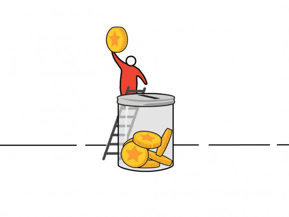 HSBC 2D character on a ladder about to drop a coin into a huge money bank