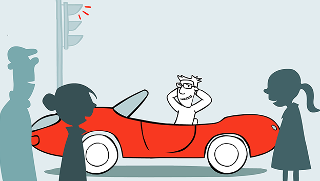 illustration of male character grinning out of his red sports car