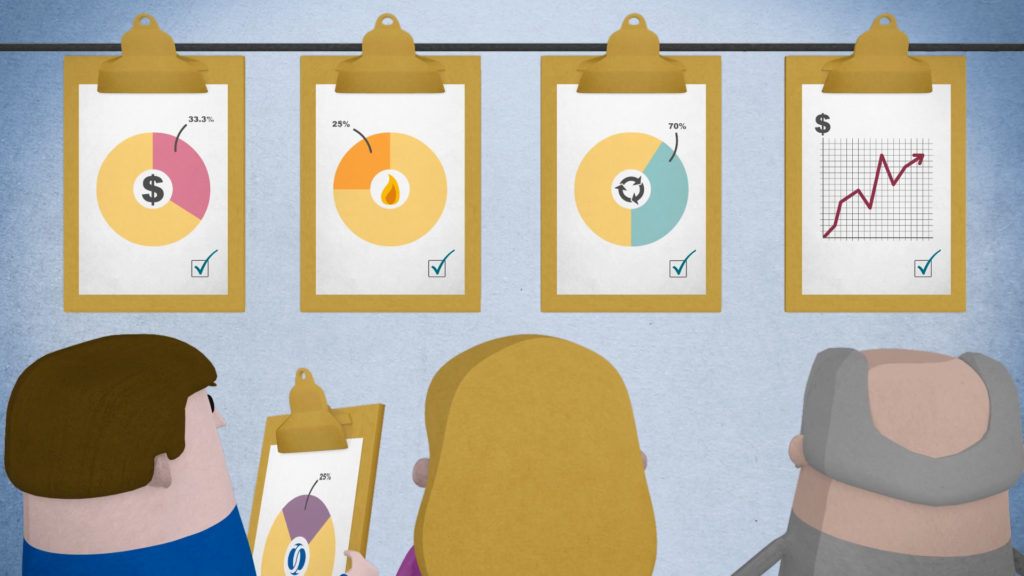 EBRD Explainer Animation, 3D characters looking At Clipboards with graphs and pie charts
