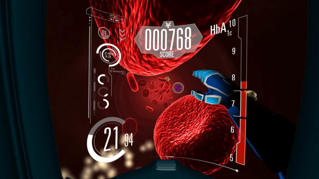 Oculus VR Diabetes Voyager Game MoA Medical Blood Cells with graphic overlay and score figure