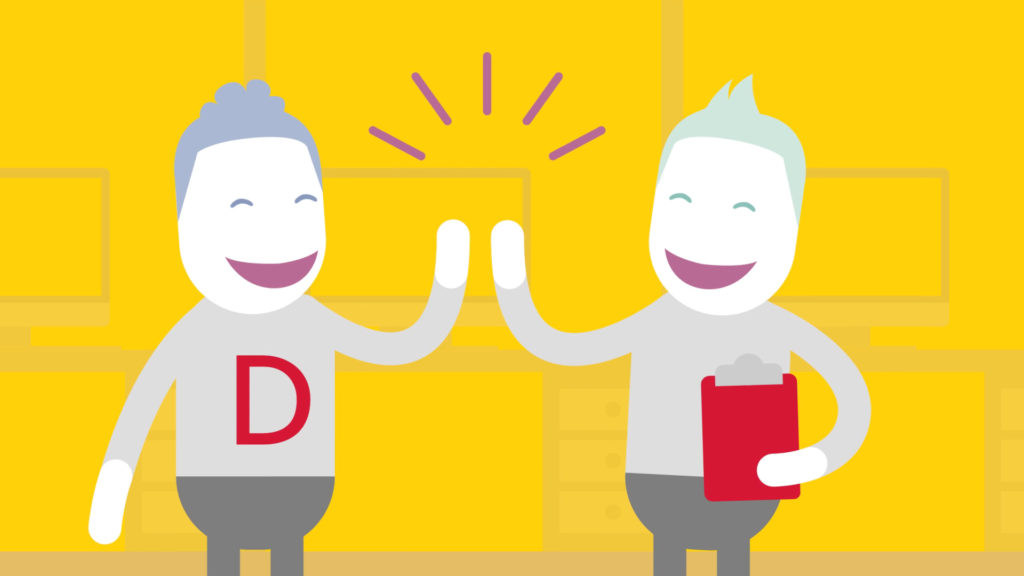 DHL Employee Wellbeing Animation App Top-Tips , 2 illustrated characters giving a high five, one character is holding a clipboard