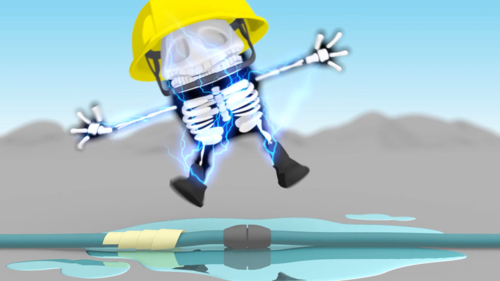 MTR Health And Safety Animation, 3D comic character suffering an electric shock after sticking damaged cables together while standing in a puddle
