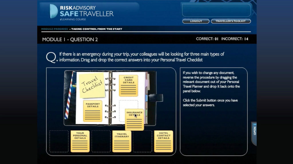 Risk Advisory Safe Traveller Online Training Learning, notebook with post it notes and checklist