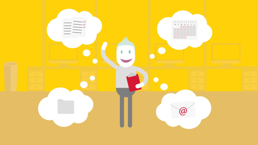 DHL Employee Wellbeing Animation App Top-Tips Humour, character waving with thought bubbles floating around him showing email, checklists, calendar and files