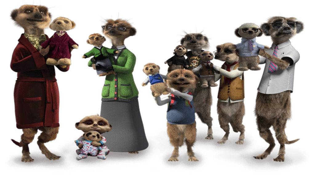 Compare The Meerkat Characters Campaign, meerkat family with grandas, grandkids, mum and dad in dressing gown