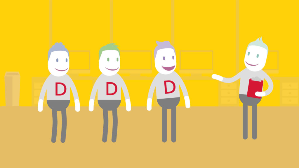 DHL Employee Wellbeing Animation App Top-Tips, illustrated character explaining something to other 3 smiling characters