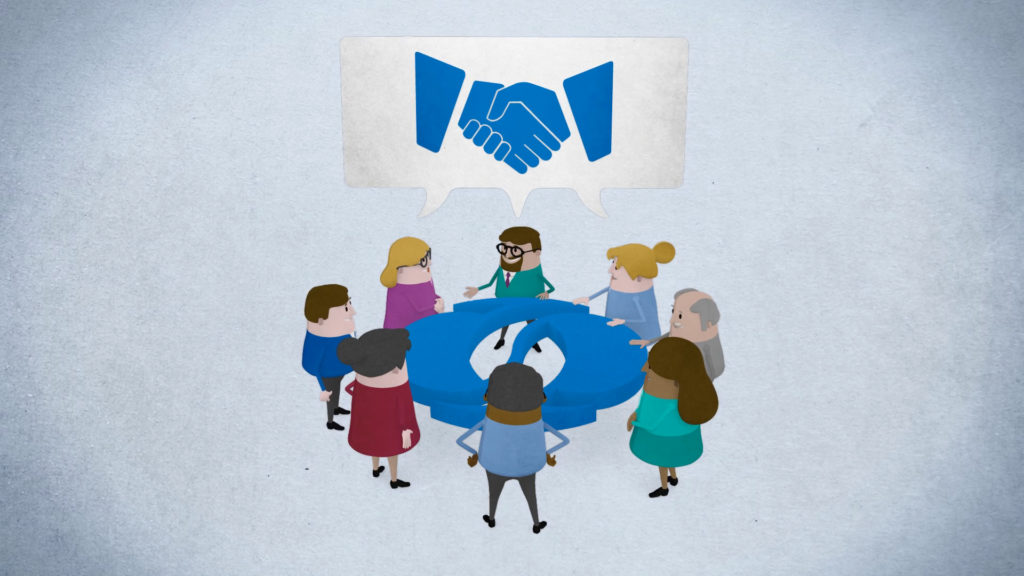 EBRD Explainer Animation Trailer SEO, 3D characters standing around a table with speech bubble above them displaying a handshake