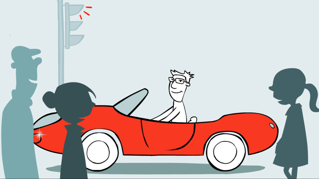 Matrixx Software YouTube Animation, illustration of sparkling new red sports car with proud character and amazed pedestrians