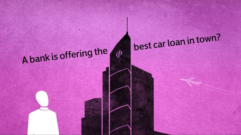 2D character looking up a tall building with plane flying by and text around the sky scraper saying: a bank is offering the best car loan in town?