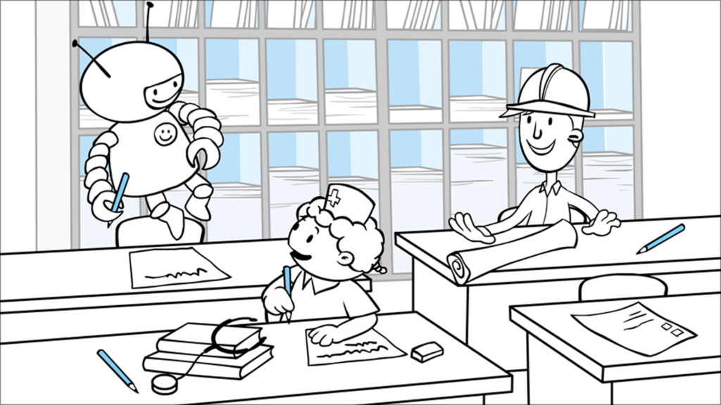Kumon TV Animation Commercial, illustrated character of nurse, engineer and floating astronaut in school class