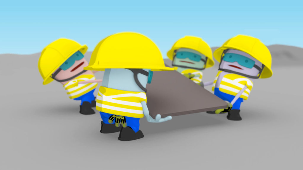 MTR Health And Safety Animation – Protective Gloves, 3D characters lifting a very heavy board