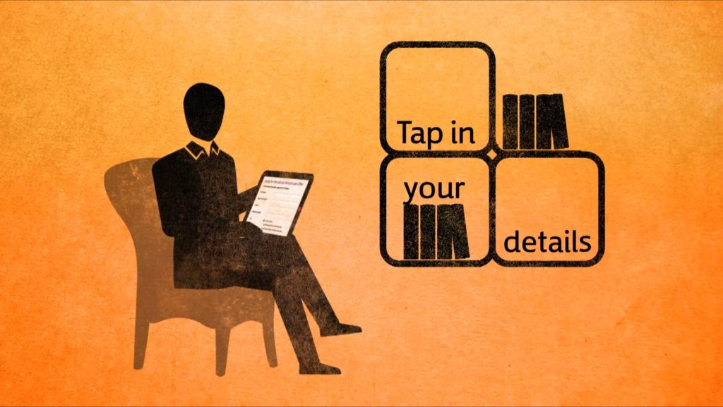 stylised sitting character tapping information into an i-pad, text in shelves with books