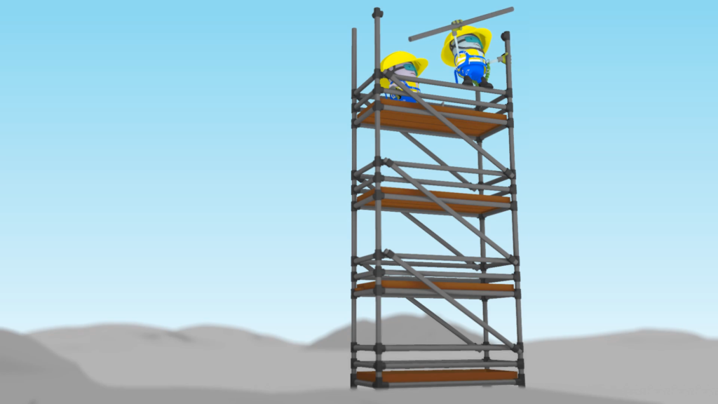 MTR Health And Safety Animation – 2 characters standing on scaffolding, one is wobbly holding a heavy pipe