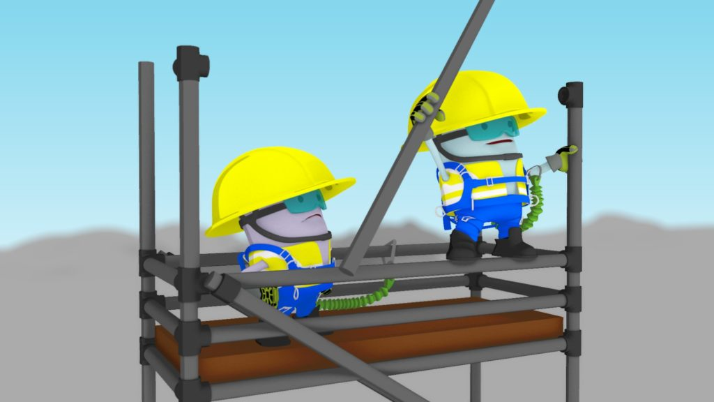 MTR characters on top of a scaffold, building it higher