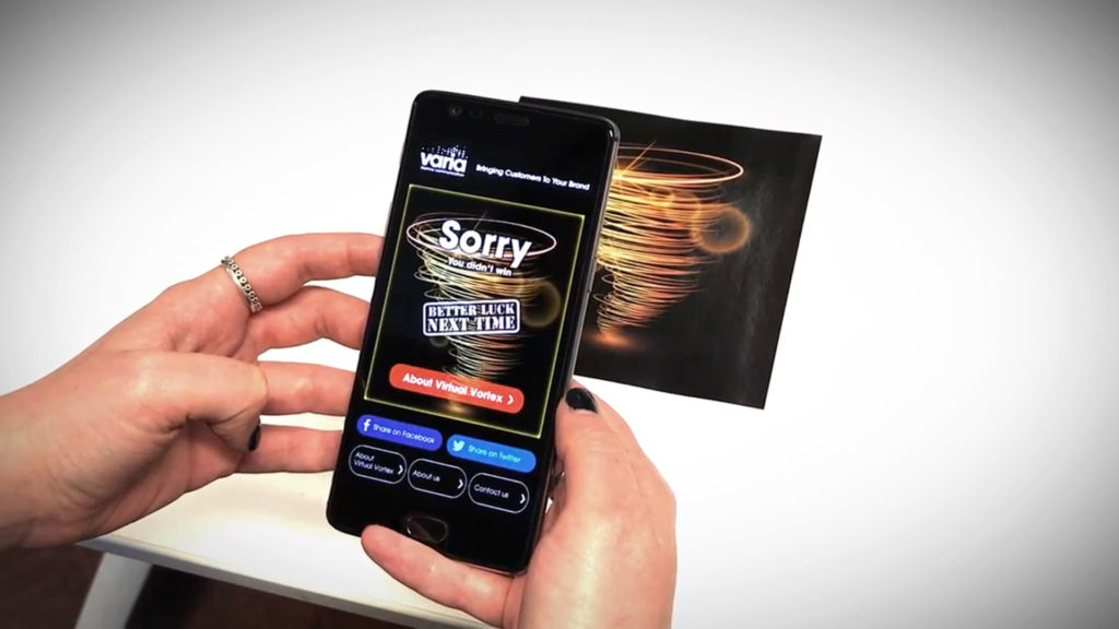 Virtual Vortex Augmented Reality App, whirl wind vortex with AR displaying on mobile phone screen