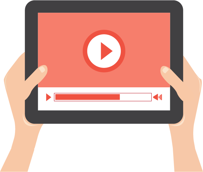 stylised illustration of hands holding tablet with play button on it