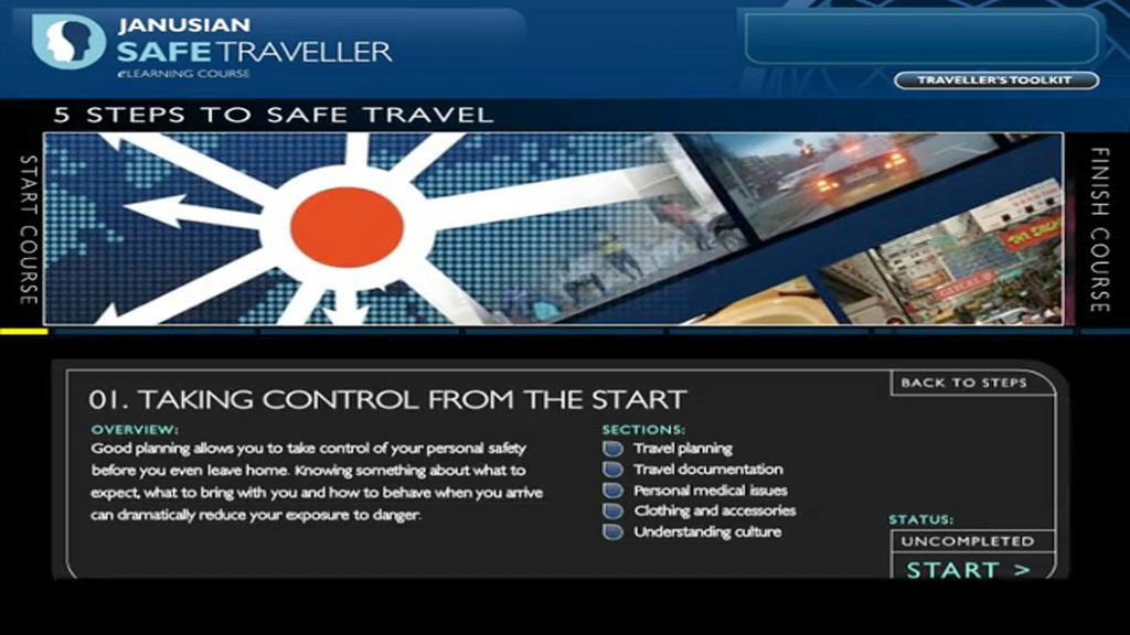 Risk Advisory Safe Traveller Online Training Learning 5-Steps, module 1, taking control from the start