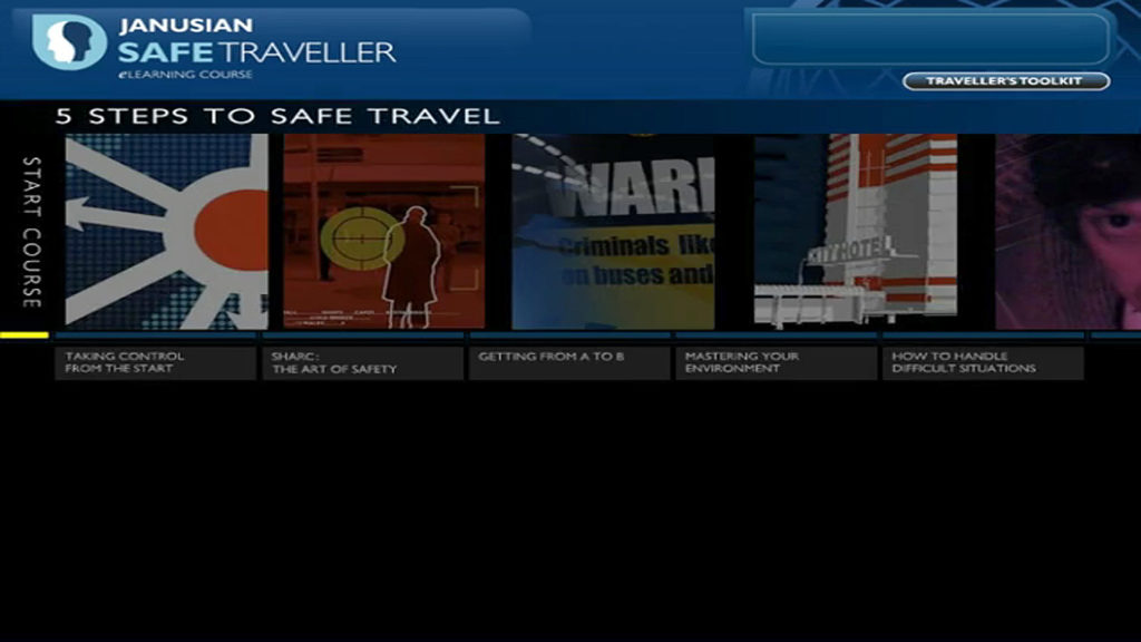 Risk Advisory Safe Traveller Online Training, screen shot of 5 Learning Modules, 5 steps to safe travel