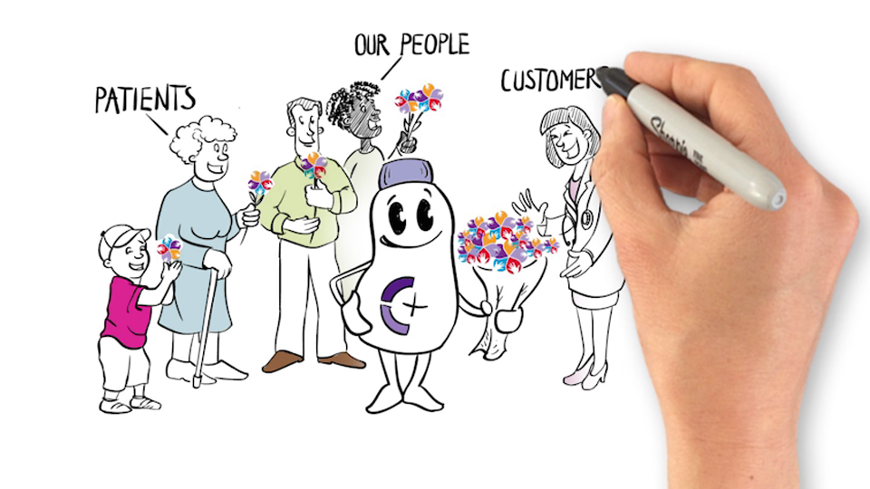 hand drawing a Nutricia bottle holding a bouquet of flowers and handing them out to patients, their people and customers