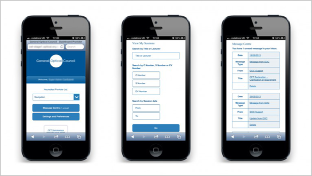 GOC app screen grab on 3 phones