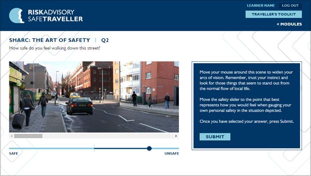 screen grab of training app with street scene