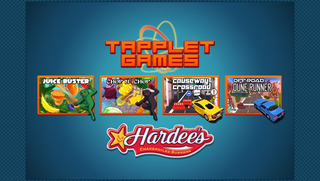 Tapplet screen with 5 games icons