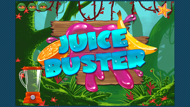 juice buster title page with fruits and blender in jungle