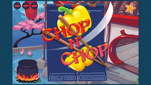 Title page of Chop n' Chop game with pepper being sliced