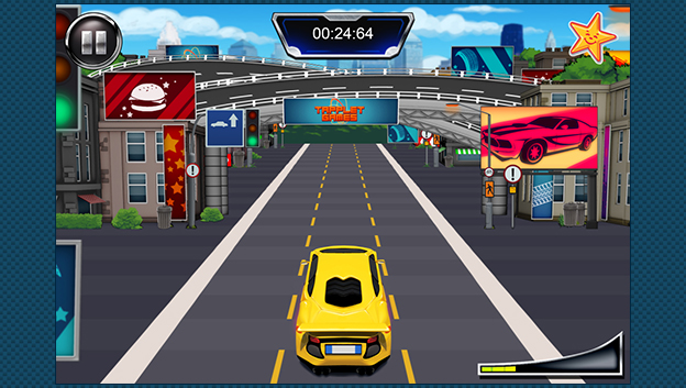 game screen with racing car in middle of the track