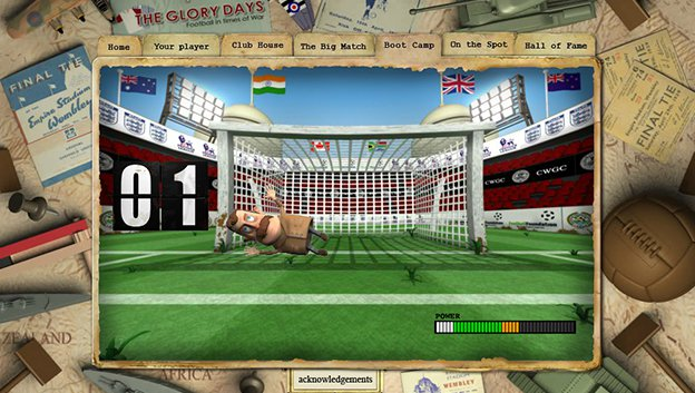 football in times of war web site screen grab with 3D character defending the goal in in shoot out game