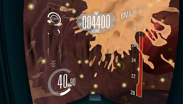 VR interactive game screen with splash in artery overlaid with score and graphic