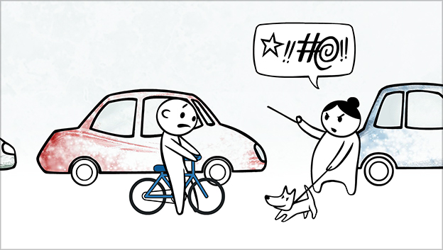 Uniqa character on bike stopping in front of angry lady with dog