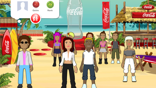 Cocal cola beach scene with cool and 3D characters ready to dance