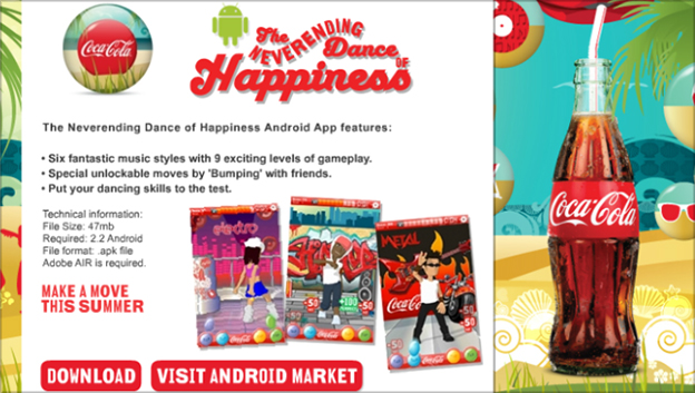 Coca Cola never ending dance of happiness app - download ad with screen grabs of the game