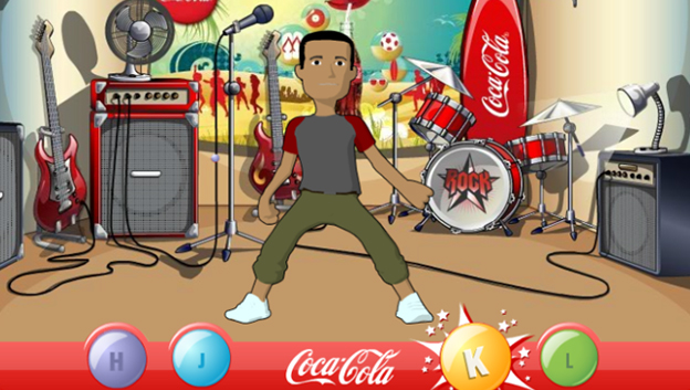 cool dark skinned 3D character dancing, drums, guitar, amplifier and fan in background, game button pressed