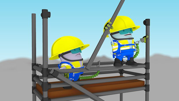3D characters with helmets and harnesses standing high up on scaffolding