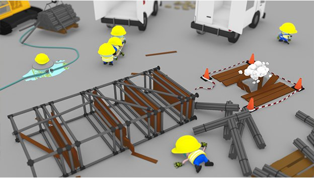 building site with fallen over scaffold and collapsed 3d cartoon character, ambulances and character being transported off on a stretcher