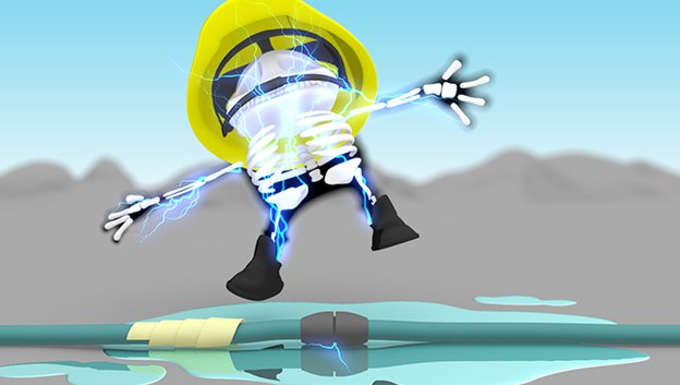 3D cartoon character be electrocuted by trying to fix dodgy cables in a puddle