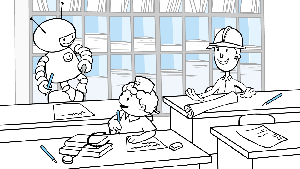 Illustration of child dressed as an astronaut floating in a classroom