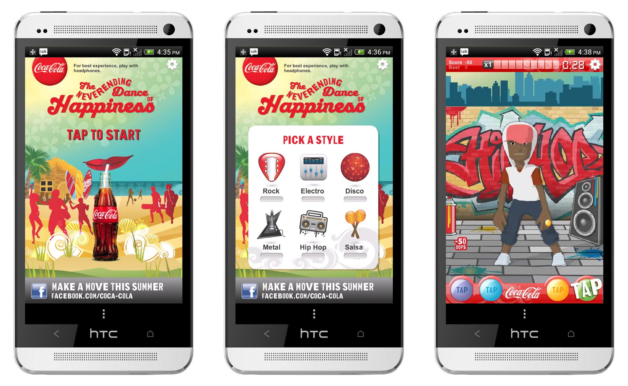 3 phone screen with never ending dance of happiness screen: start screen, pick a style screen, dance screen