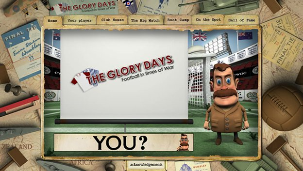 football in times of war web site screen grab with 3D character presenting the Glory Days