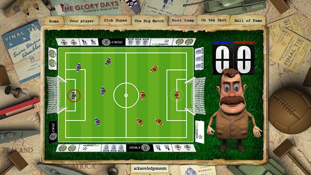 football in times of war web site screen grab with 3D character next to football field with players