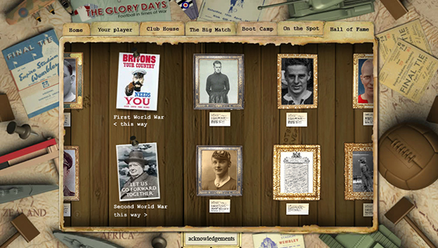 football in times of war web site screen grab with old photographs and items