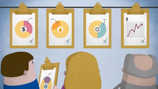 EBRD Explainer Animation, back shot of 3 characters looking up at clipboards with pie charts and a graph