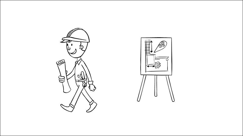 2D Illustration of an engineer walking away from a flip board
