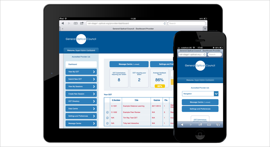 mobile and tablet screen grab of general optical council app