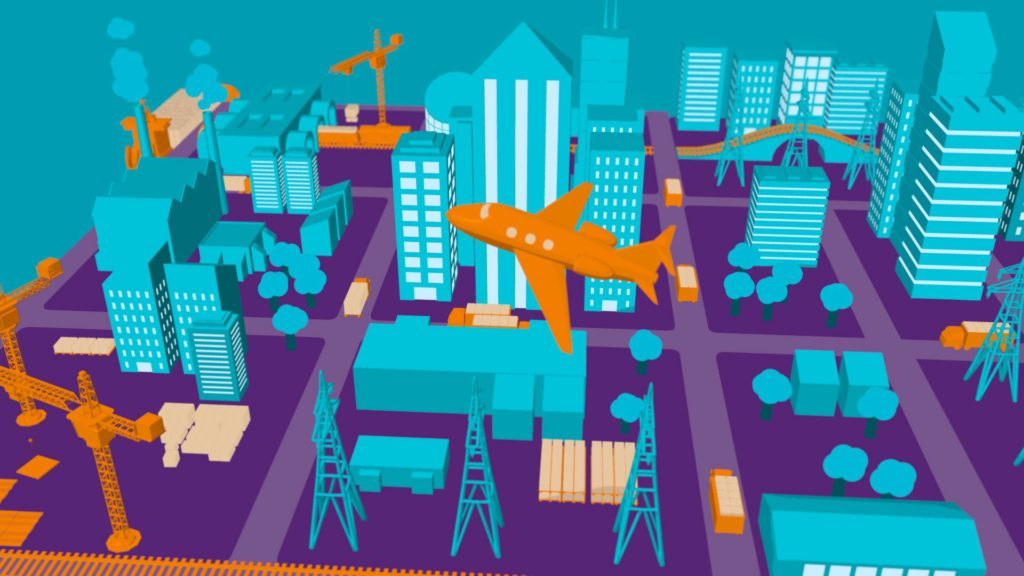 3D illustrated city scape with plane taking off, some construction cranes and lorries