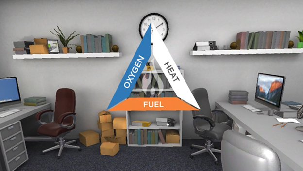 Fire Safety Virtual Reality Training For Employees, office environment with desks, chairs, shelves and stacked up card board boxes, overlaid with an oxygen-heat-fuel triangle graphic