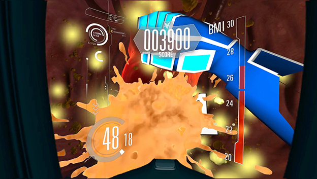 VR interactive game screen with splash and hand overlaid with score and graphic