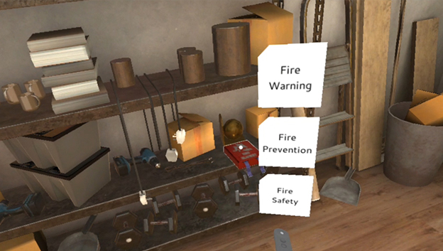 VR fire saftey training, shelves with various items stocked up